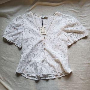 NWT Zara TRF Collection white blouse size XS